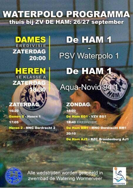 Dames 1, heren 1 en 2 waterpolo ZV de Ham 26 september 2015