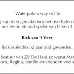 Overlijden Rick van 't Veer